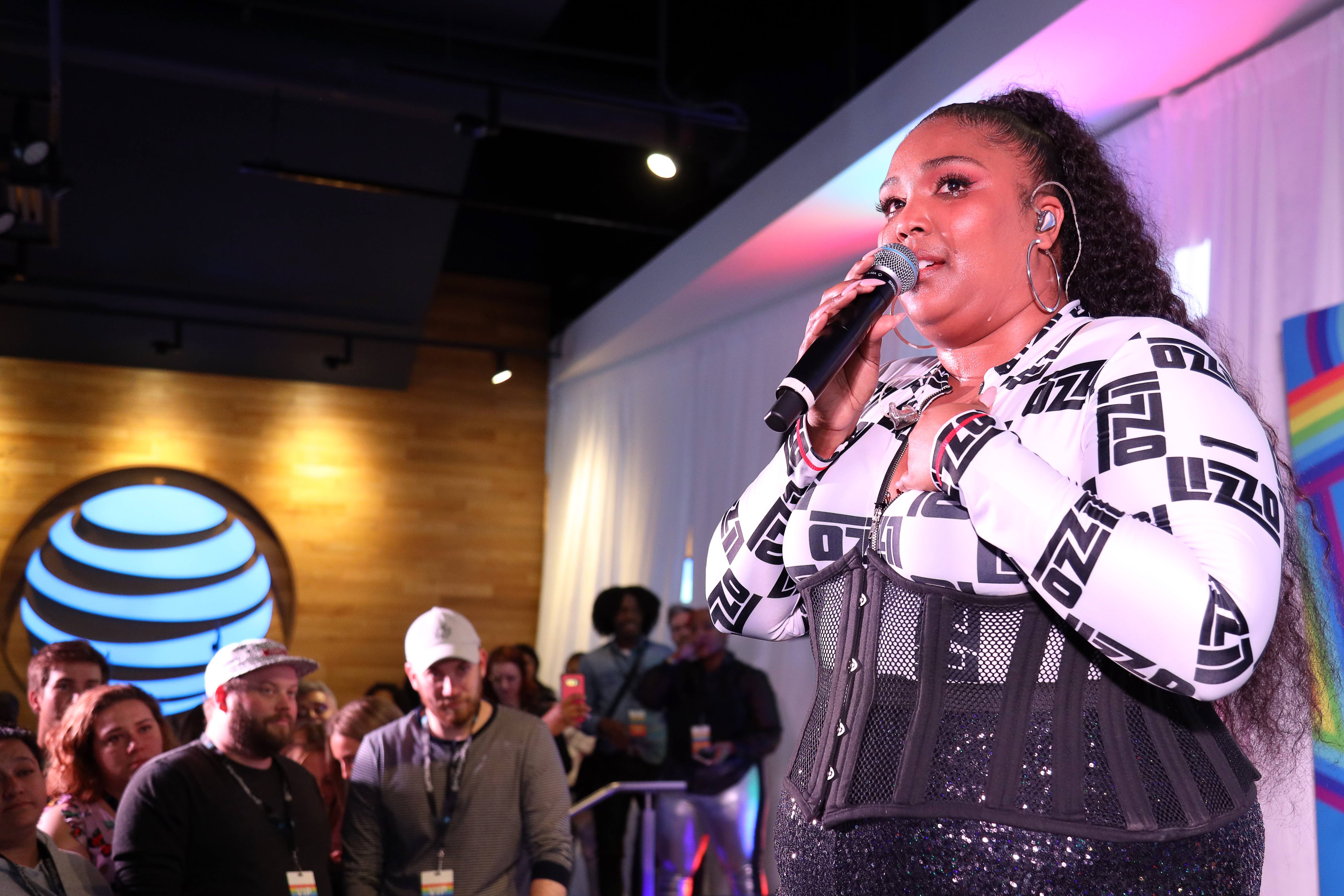 Lizzo on Stage at Chicago event at AT&T Michigan Ave flagship store